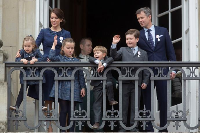 Crown Prince Frederik, and Crown Princess Mary of Denmark with their children on the balcony of Amalienborg Palace in 2015.