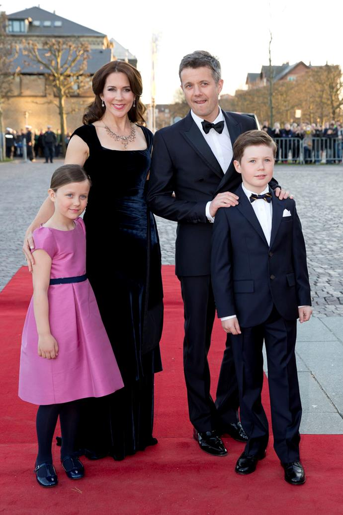 Crown Princess Mary and Crown Prince Frederik of Denmark with their children Princess Isabella and Prince Christian attend a Gala Night to mark the 75th Birthday of Queen Margrethe II of Denmark at Aarhus Concert Hall in 2015.