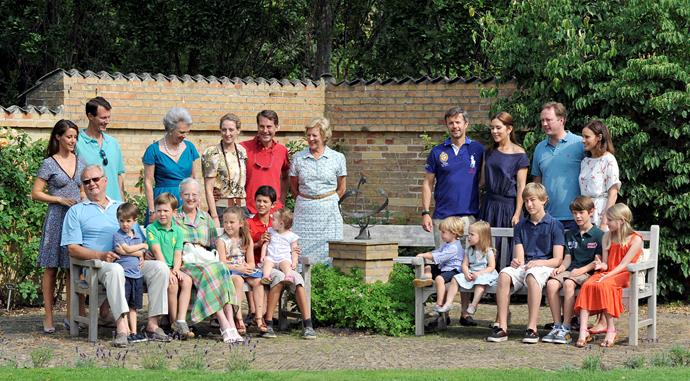 Mary with her big Danish royal family at their annual Summer photocall at Grasten Castle on July 26, 2013.