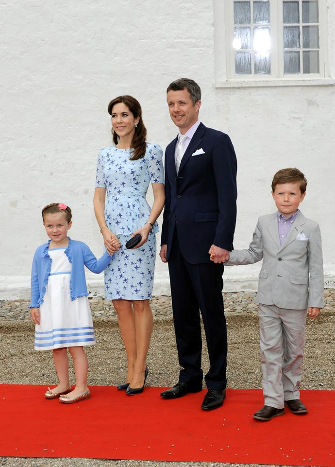 Crown Prince Frederik of Denmark, Crown Princess Mary of Denmark, Princess Isabella and Prince Christian at Mogeltonder Church on May 20, 2012 in Tonder, Denmark.