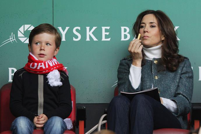 Princess Mary with her eldest child, Prince Christian watch the International Friendly between Denmark and Australia at Parken Stadium in Denmark.