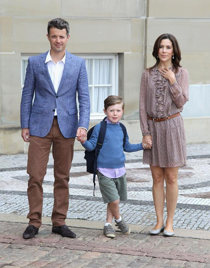 The royal parents with their son their son Prince Christian on his first day of school on August 12, 2011 in Copenhagen, Denmark.