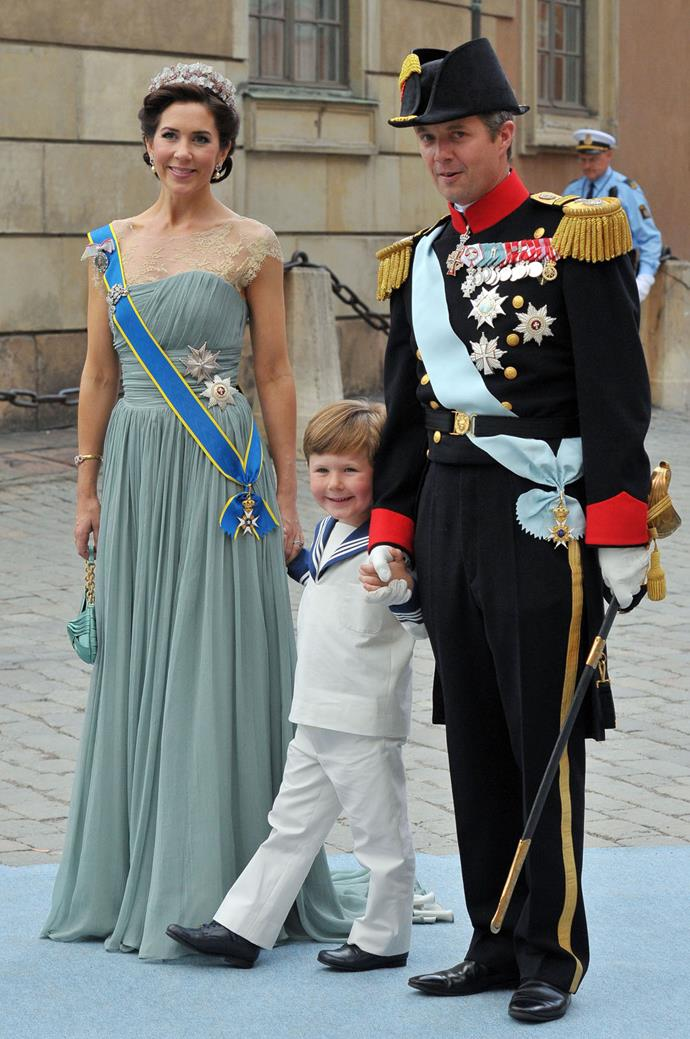 Prince Frederik of Denmark, Princess Mary of Denmark and son Prince Christian attend the wedding of Crown Princess Victoria of Sweden and Daniel Westling on June 19, 2010 in Stockholm, Sweden.