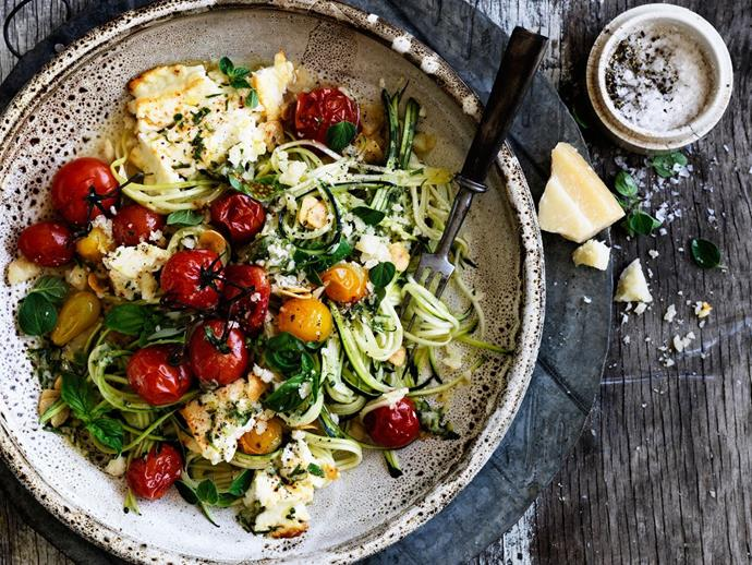 """Shave some fetta on this [zucchini 'spaghetti' with tomato pasta](http://www.foodtolove.com.au/recipes/zucchini-spaghetti-with-tomato-and-fetta-30846 target=""""_blank"""" rel=""""nofollow"""") for a healthy, yet creamy kick."""