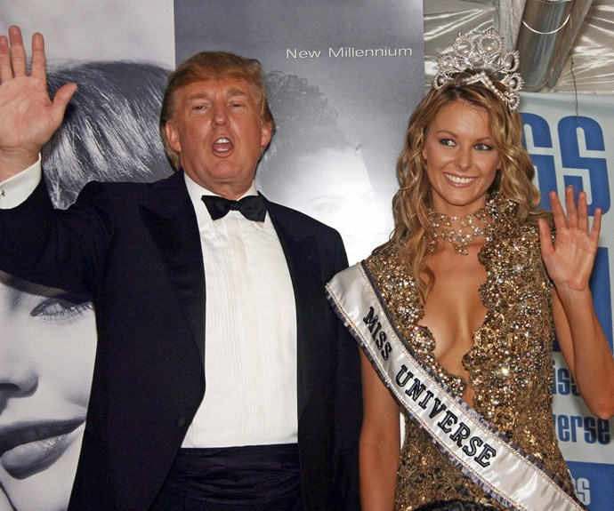 Donald Trump and Jennifer Hawkins at the 2004 Miss Universe competition in Quito, Ecuador.