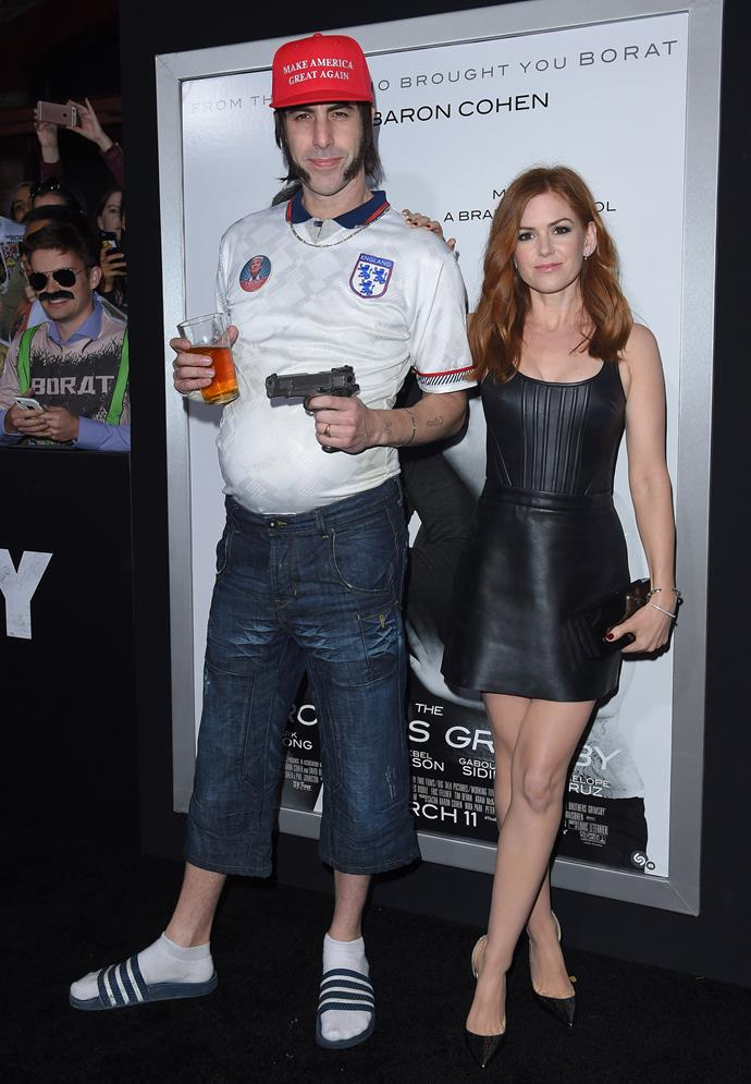 Sacha Baron Cohen (in character) and Isla Fisher at *The Brothers Grimsby* premiere in March