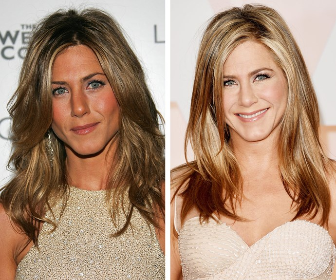 """Jennifer Aniston, pictured here 11 years apart, says: """"Drink water, stay hydrated and sleep. It's so boring, yet so simple."""""""