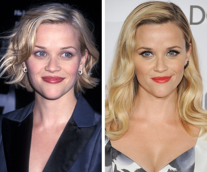 Would you have guessed there to be 15 years in between these snaps of Reese Witherspoon?