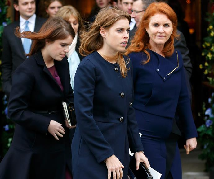Sarah Ferguson with her two daughters, Princess Beatrice, 28, and Princess Eugenie, 26.