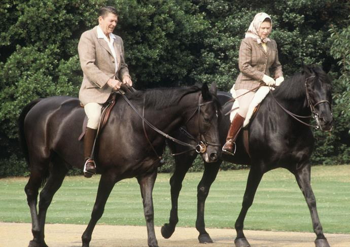 With US President Ronald Reagan in 1983 at Windsor. PHOTO: Getty.
