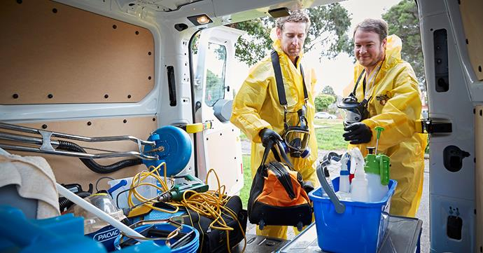 Business is booming for Josh Marsden (below, left) and the crew from Meth Lab Cleaners Australia, which has decontaminated 80 former labs. PHOTO: Nick Cubbin