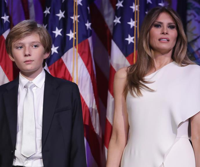 Barron, 10, made headlines for fidgeting through his father's acceptance speech for the Presidency.