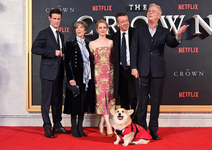 The cast of the *Netflix* series take to the red carpet with a corgi in tow.