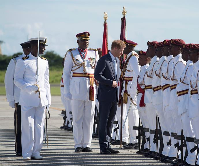 Harry is in the Caribbean for the 35th Anniversary of Independence in Antigua and Barbuda and the 50th Anniversary of Independence in Barbados and Guyana on behalf of his grandmother, Queen Elizabeth II.