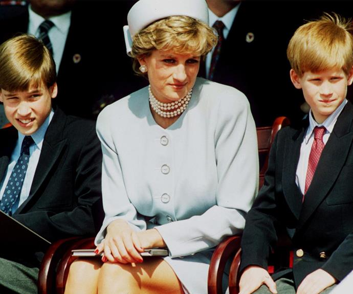 Princess Diana with her sons, Prince William and Prince Harry.