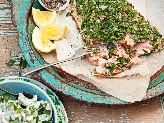 "If you want to incorporate fish into your diet at least twice a week, this [tahini and tabouli salmon with chunky tzatziki salad](http://www.foodtolove.com.au/recipes/tahini-and-tabouli-salmon-with-chunky-tzatziki-salad-8647|target=""_blank""