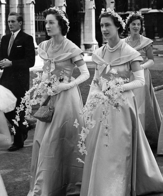 Margaret Rhodes and Princess Margaret pictured on Princess Elizabeth's wedding back in 1947.
