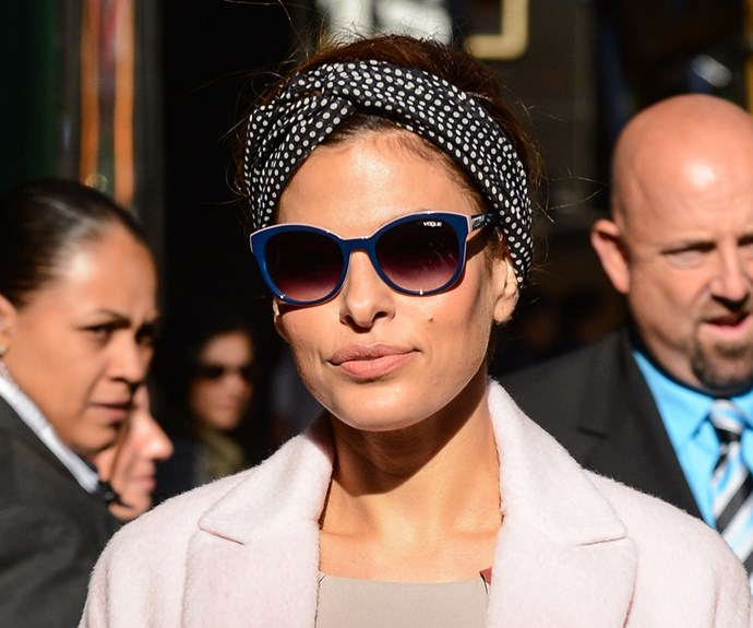 """**Eva Mendes** is known for her love of headscarves and we can see why. A stylish solution for covering all manner of sins - from frizzy hair to greasy roots and regrowth - they give the impression that you've made a huge effort, when really you haven't! They're also really versatile so you can wear them with a top knot, waves, a ponytail or braid. Fold the fabric into a long rectangle, wrap it around your head and tie at the nape of your neck. Try [ASOS Pack of 2 Printed Wire Twist Tie Headbands](http://www.asos.com/au/asos/asos-pack-of-2-printed-wire-twist-tie-headbands/prd/8833014?clr=multi&cid=20267&pgesize=17&pge=0&totalstyles=17&gridsize=3&gridrow=1&gridcolumn=1