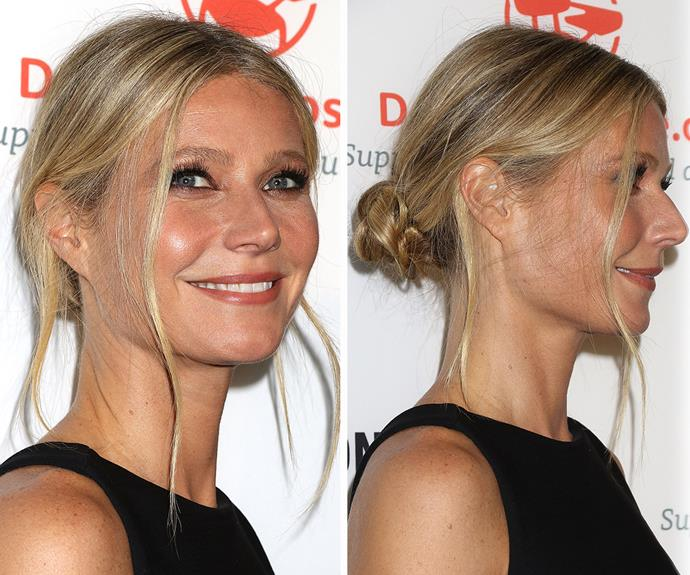 **Gwyneth Paltrow's** low-slung bun is great for those nights out when you're feeling more frazzled than fabulous. Start by pulling your hair into a low ponytail that sits at the nape of your neck, then twist it into a bun, pin, and pull out a few face-framing tendrils. Forget five minutes, you'll be done in 60 seconds.