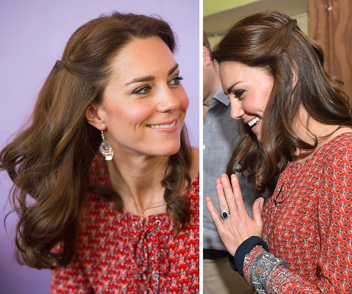 """**The Duchess of Cambridge's** bouncy blow-dries are world-famous, but on tour the mum-of-two often relies on a half-up, half-down hairstyle that's easy to replicate in real life. Part your hair in the centre, grab two inch-wide sections of hair (one from each temple) and bring them to meet at the back of your head. Secure with two bobby pins in an """"X"""" shape. Voilà."""