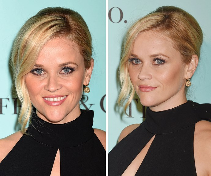 **Reese Witherspoon's** French twist may look seriously fancy, but you can master it in less than five minutes. First up, pull your hair to one side and pin a vertical line of bobby pins from the nape of your neck up to the top of head. Then, twist your hair up and secure with more pins, locking them into your pre-existing pins to make sure your French twist stays in place. Then pull an inch-wide section loose at the front and tong to create a gentle curl. Use firm-hold hairspray to finish.