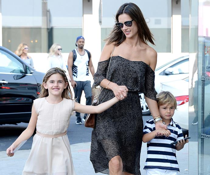 Alessandra Ambrosio is all smiles with eight-year-old daughter Anja, and son Noah, four.