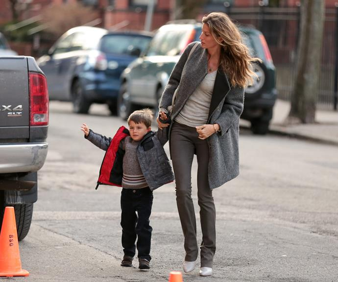 Retired Angel Gisele snapped with son Benjamin Brady.