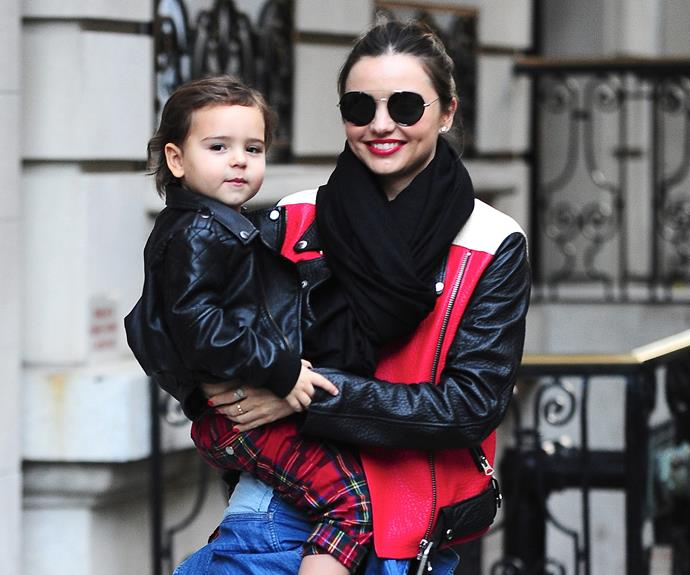 Miranda Kerr and her son Flynn, who is no doubt the perfect fusion of genes from his mum and dad, Orlando Bloom.