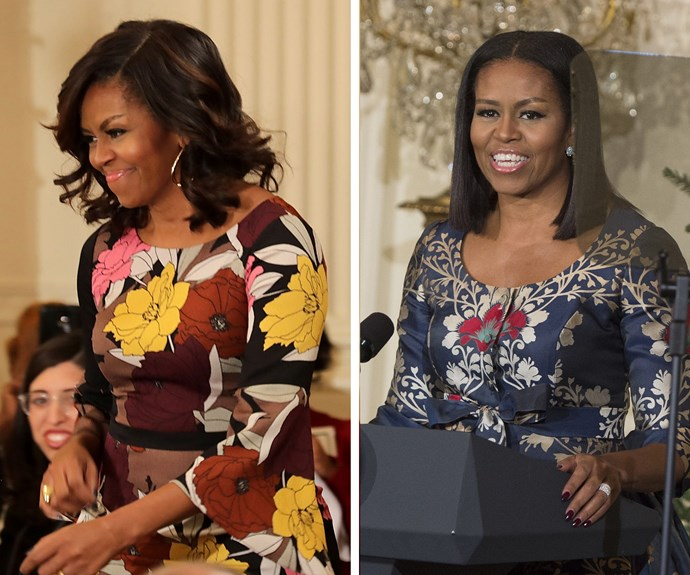 Before and after! The First Lady has done away with the shoulder-length curls (L) and opted for a sleek, long bob.