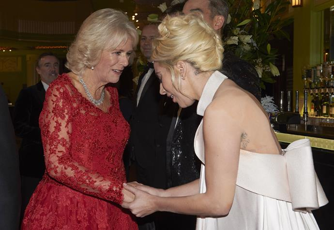Lady Gaga meeting the Duchess of Cornwall.