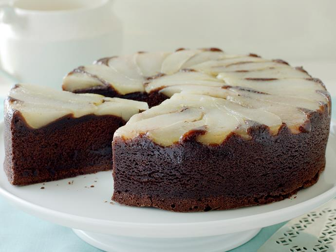 "**[Upside-down pear and chocolate cake recipe.](http://www.foodtolove.com.au/recipes/upside-down-pear-and-chocolate-cake-3773|target=""_blank"")**"