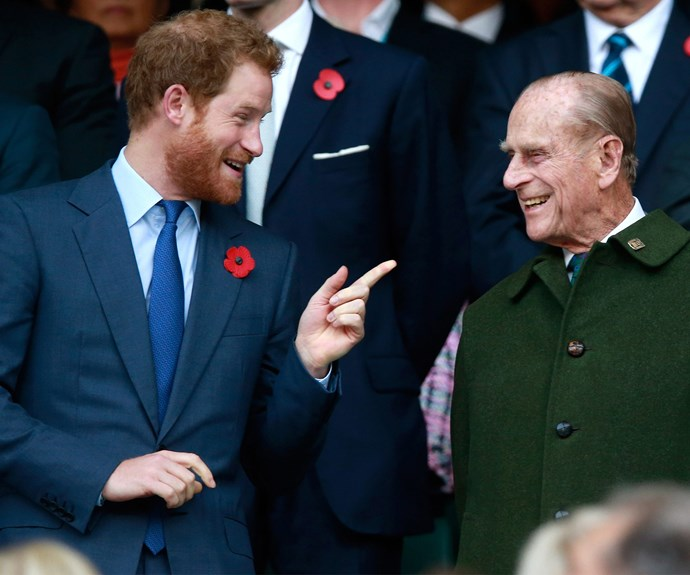 Prince Philip shares a laugh with Prince Harry during the [Rugby](http://www.nowtolove.com.au/royals/british-royal-family/prince-harry-surprises-rugby-fans-at-twickenham-35264) World Cup final in 2015, and chose a military green coat for the occasion.