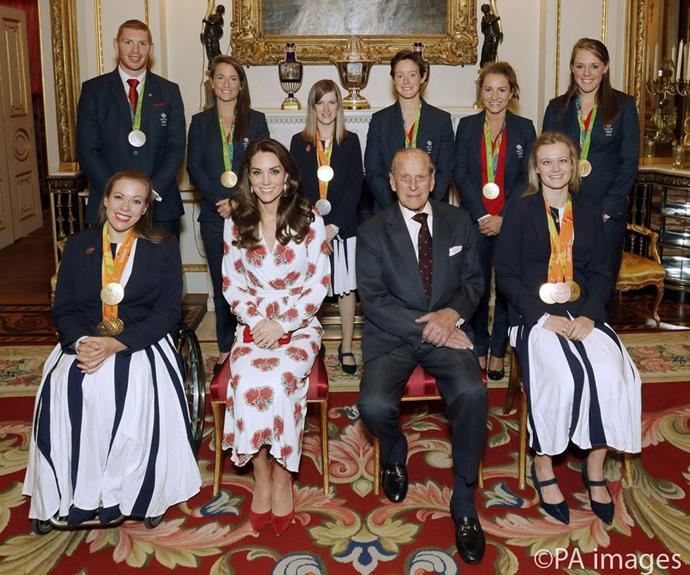 Catherine and Prince Philip at an Duke of Edinburgh Award ceremony.