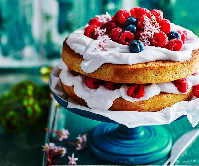 **Mixed berry and coconut layer cake.** It wouldn't be dinner without dessert and luckily this gluten-free and dairy-free sponge cake is totally guilt-free, too! [Find the full recipe here](http://www.foodtolove.com.au/recipes/mixed-berry-and-coconut-layer-cake-32984).