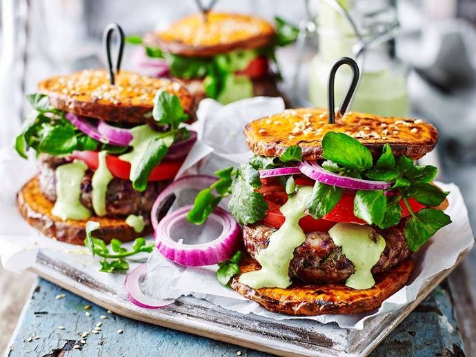 **Healthy kumara and turkey burgers.** These delicious turkey burgers use sliced sweet potatoes instead of buns. [Find the full recipe here](http://preview.cms.live.food.wn.bauer-media.net.au/recipes/kumara-and-turkey-paleo-burgers-32689).