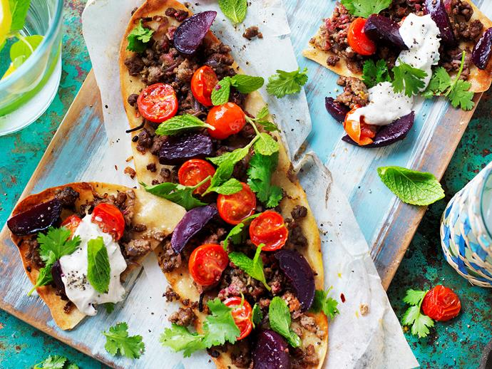**Beetroot and lamb flatbreads with tahini yoghurt.** This Turkish style pizza with chunks of beetroot, cherry tomatoes and tahini yoghurt is an easy, healthy dinner. [Find the full recipe here](http://www.foodtolove.com.au/recipes/beetroot-and-lamb-flatbreads-with-tahini-yoghurt-27320).