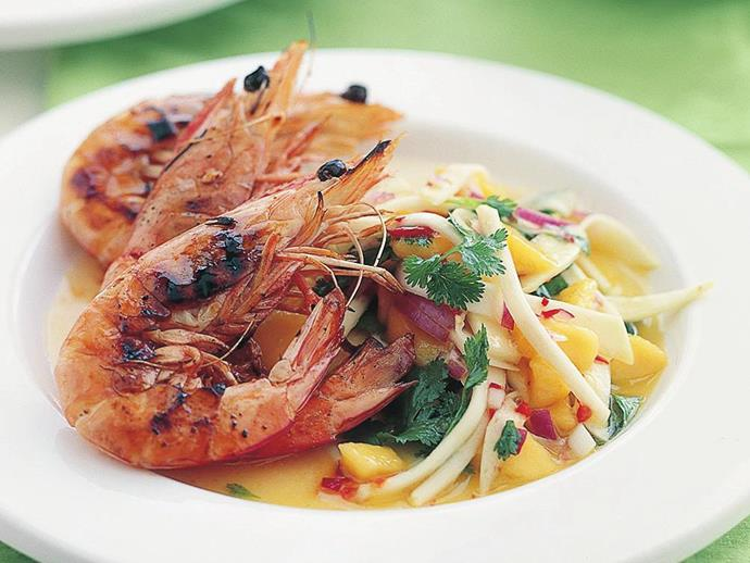 **Char-grilled prawns with mango chilli salsa.** This 15-minute dish is always a hit. Crank up the BBQ and serve your char-grilled prawns with a fresh and zingy mango chilli salsa. [Find the full recipe here](http://www.foodtolove.com.au/recipes/char-grilled-prawns-with-mango-chilli-salsa-25116).