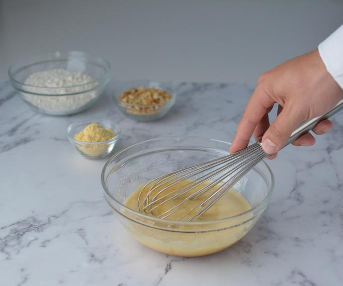 Whisk together eggs, raw caster sugar, vanilla bean paste and salt until pale and sugar has dissolved.