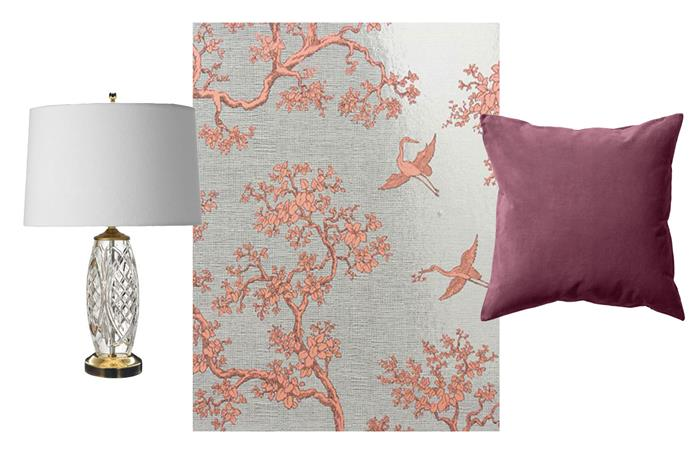 **Get the look** L-R: [Waterford Crystal Lamp](http://shop.davidjones.com.au/djs/en/davidjones/belline-lamp-35cm-%28with-shade%29 ), $1099 from David Jones; [Florence Broadhurst Wallpaper](http://www.signatureprints.com.au/products/wallpaper/blueprints-collection/the-cranes-fbw-b073/), $270 for 10 metres from Signature Prints; [H&M Cushion Cover](http://www.hm.com/au/product/63283?article=63283-N), $12.99