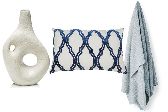 **Get the look** L-R: [Jonathan Adler Vase](http://www.cocorepublic.com.au/krakatoa-vase), $255 from Coco Republic; [Heritage Cushion](http://www.myer.com.au/shop/mystore/w16-home/mila-cushion-in-cream-375330160), $29.95 from Myer; [Country Road Throw](https://www.countryroad.com.au/shop/home/home-accessories/throws-and-blankets/60203958-4230/Bemm-Knit-Throw.html), $169