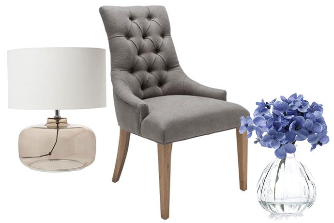 **Get the look** L-R: [Australian House & Garden Lamp](http://www.myer.com.au/shop/mystore/home/lamps--1/smokey-glass-lamp-with-natural-shade-126181000), $129.95 from Myer; [The Foundry Dining Chair](http://shop.davidjones.com.au/djs/en/davidjones/martine-deep-button-dining-chair-smokey-grey), $495 from David Jones; [Mercer + Reid Decorative Blue Hydrangea](https://www.adairs.com.au/homewares/home-decor/mercer-reid/decorative-hydrangea-14x11.5cm-blue/), $13.55 from Adairs
