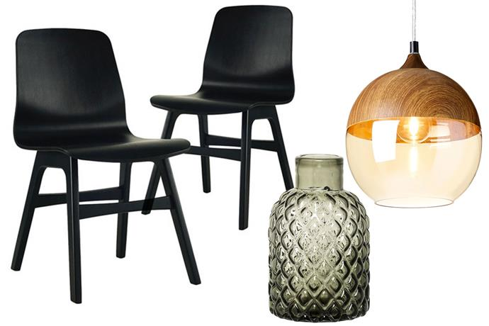 **Get the look** L-R: [Milan Direct Dining Chairs](https://www.templeandwebster.com.au/Alyssa-Dining-Chair-TPWT1453.html), $299 for set from Temple & Webster; [Bloomingville Vase](http://royaldesign.com/au/viewitem.aspx?ID=171731&gclid=Cj0KEQiAhs3DBRDmu-rVkuif0N8BEiQAWuUJr3_awx8uRgQZCKEd1UaHFe5Oubxw_Zr6SHKedptv-V0aAlTw8P8HAQ), $50 from RoyalDesign.com; [Rouge Pendant Light](https://www.templeandwebster.com.au/Bergen-Pendant-Light-BUHMPLBERG-RUGE1248.html), $99 from Temple & Webster