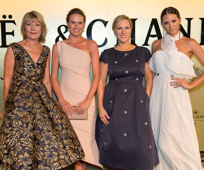 Katie Page-Harvey, Francesca Cumani, Zara Tindall and Jesinta Franklin strike a pose.