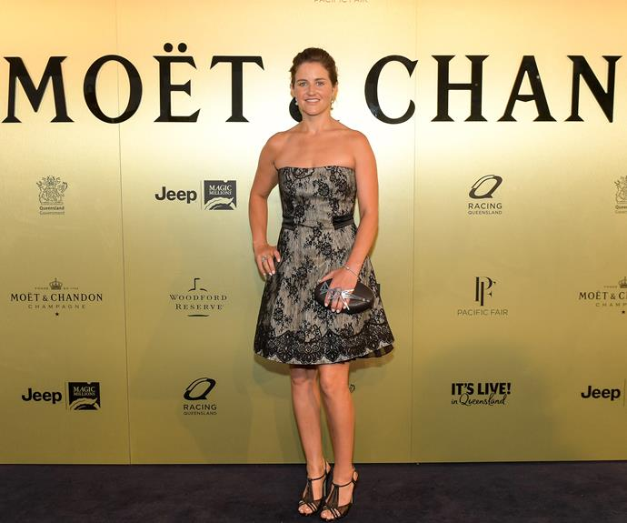Jockey Michelle Payne worked a strapless frock for the event.