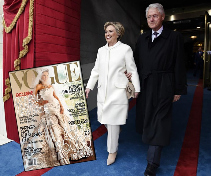 "Before they were rivals, Bill and Hillary Clinton attended the wedding of Donald and Melania in 2005. At the time Hillary said: ""I happened to be in Florida, and I thought it was going to be fun to go to this wedding, because it's always entertaining."" The nuptials were so lavish, Melania appeared on the cover of US *Vogue* wearing her actual wedding dress."