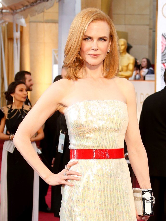 While on the red carpet at the 87th Annual Academy Awards in 2015 Nicole embraced went back to her strawberry blonde locks but instead of corkscrew curls, the actress chose a chic, angular collarbone-grazing lob which showed off her striking features.
