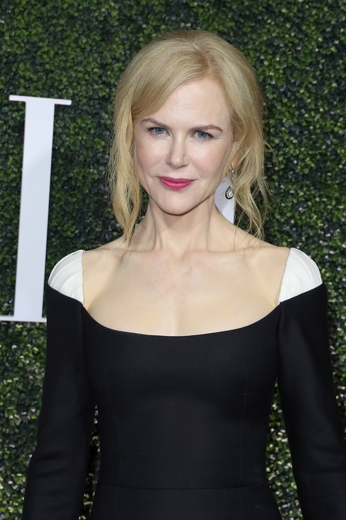 At her first appearance in 2017, Nicole debuted fresh platinum locks and a casual up-do to promote her new series *Big Little Lies*, an adaptation of a book by Australian author Liane Moriarty.