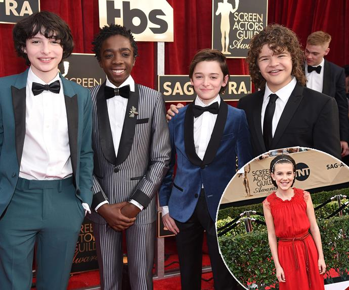 *Stranger Things* cast Finn Wolfhard, Caleb McLaughlin, Noah Schnapp, Gaten Matarazzo and Millie Bobby Brown are adorable as always.