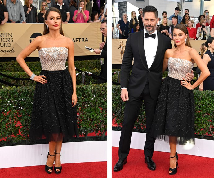*Modern Family* star Sofía Vergara poses with husband Joe Manganiello, in coordinating monochrome outfits.