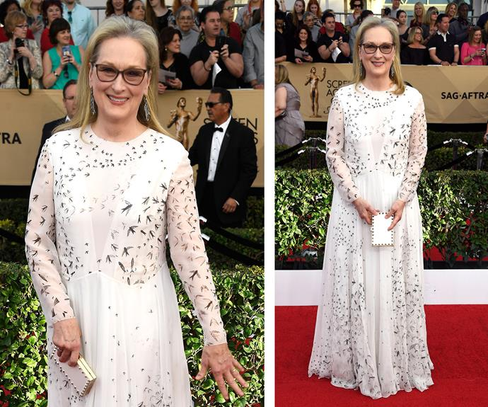 Best Female Actor in a Leading nominee Meryl Streep glows in a white dress.